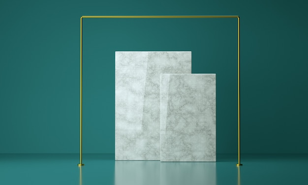 3d render luxury marble square with golden frame, studio background for product display
