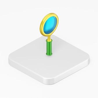 3d визуализация значок лупы на белой квадратной кнопке, изолированные на белом фоне
