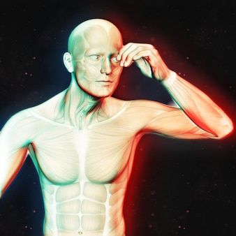 3d render of a male figure holding head in pain