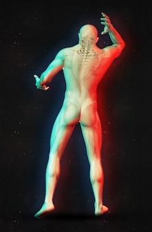 Rendering 3d di una figura maschile che detiene il collo nel dolore con effetto a doppio colore