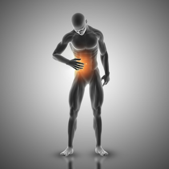 3d render of a male figure holding stomach in pain