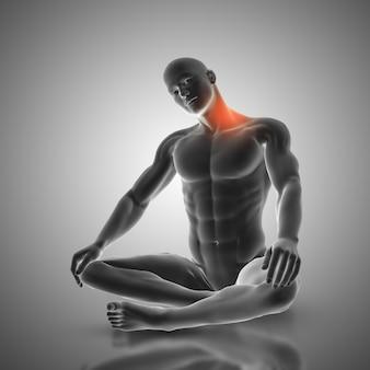 Rendering 3d di una figura maschile in posa di stretching del collo mostrando i muscoli utilizzati