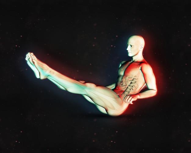 Rendering 3d di una figura maschile in posizione di sit up con le gambe estese e doppio effetto a colori
