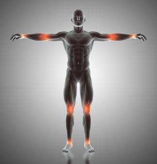 3d rendering di una figura maschile con le articolazioni evidenziate