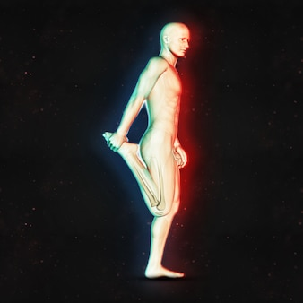 Rendering 3d di un maschio in posizione di stretching gamba con doppio effetto a colori
