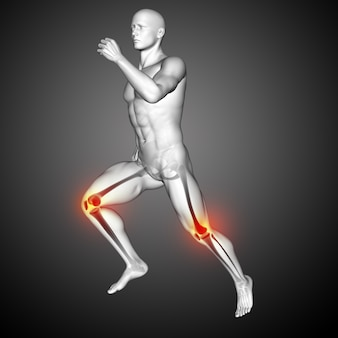 3d render of a male medical figure running with knees highlighted