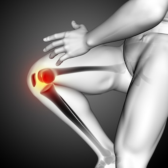 3d render of a male medical figure with close up of knee bone