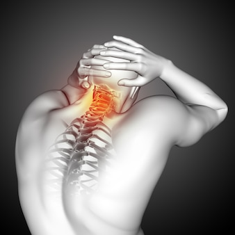 3d render of a male medical figure with top of spine highlighted
