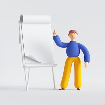 3d render of man cartoon character standing near the presentation board