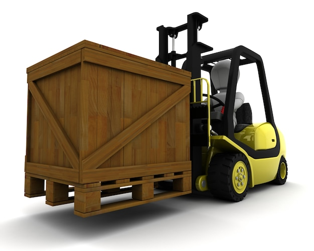 3d render of a man driving a fork lift
