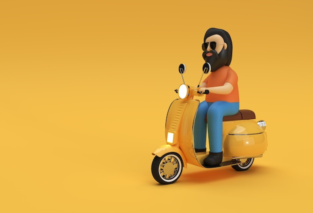 노란색 배경에 모터 스쿠터 측면 보기를 타고 3d 렌더링 남자.