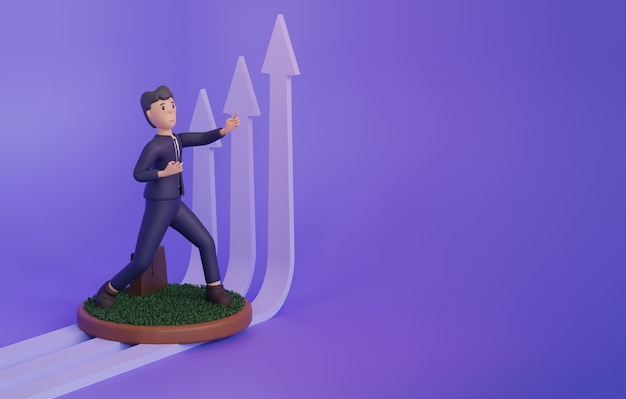 3d render of man next to upgrowing arrows on purple background with copy space
