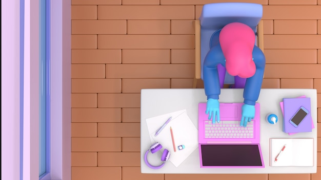3d render man with laptop sitting on the chair using laptop for online work or learning education while quarantine