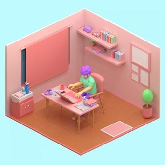3d визуализации человек с ноутбуком, сидя на стуле, используя ноутбук для работы в интернете или обучения во время карантина
