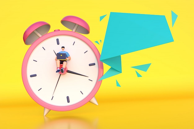 3d render of man working on time with empty message.