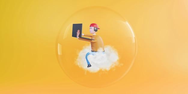 노란색 배경에 유리 구 안에 노트북으로 작업하는 3d 렌더링 남자