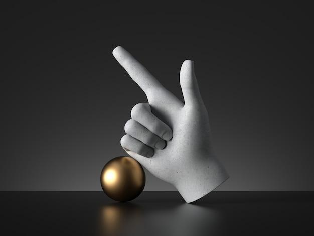 3dレンダリング、マネキンの手の指を上に向け、金色のボール、方向ジェスチャー。人間の手足の義足。彫刻アートオブジェクト