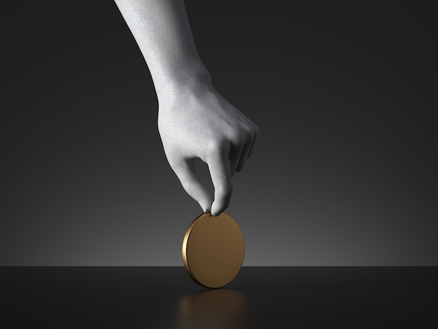 3d render of mannequin hand holding blank round golden token or coin or medal.
