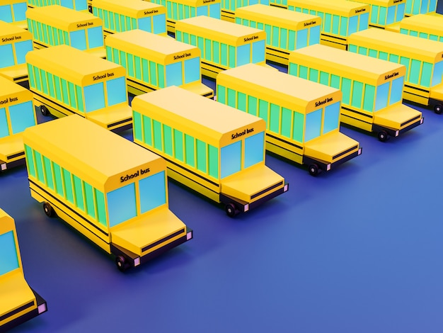 3d render many school bus on blue background in neon colors. back to school concept