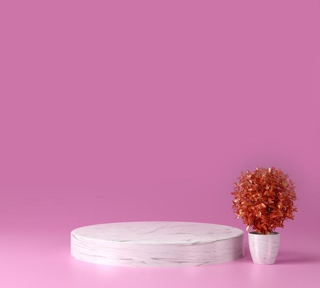 분홍색 배경, 디스플레이 또는 쇼케이스가있는 3d 렌더링 대리석 모형