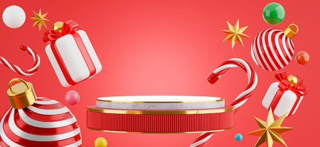 3d render of marble podium floating with christmas concept for product display