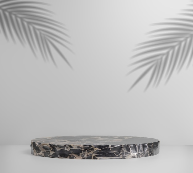 3d render marble podium and palm shadow with white, abstract.