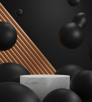3d визуализация сцены из мраморного подиума и золотой алюминий на черном фоне.