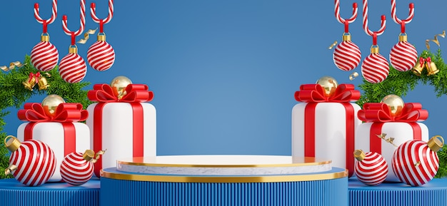 3d render of marble podium with christmas concept for product display