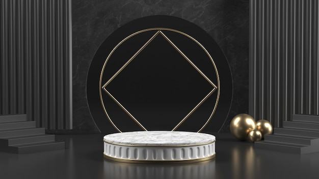 3d render of marble podium with golden balls