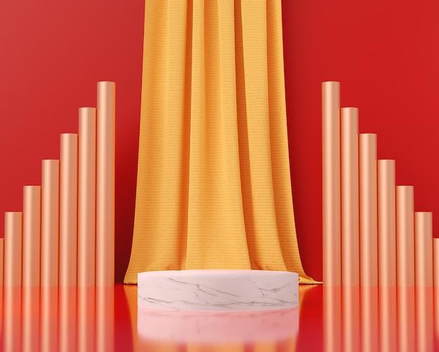 3d 렌더링 빨간색 배경, 추상적 인 배경, 쇼 브랜드 제품에 대 한 받침대와 대리석 연단.