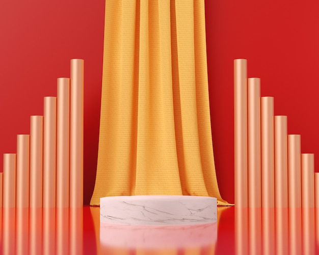 3d render marble podium with red background, abstract background, pedestal for show brand products.
