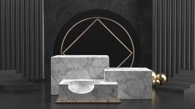 3d render of marble podiums with golden balls