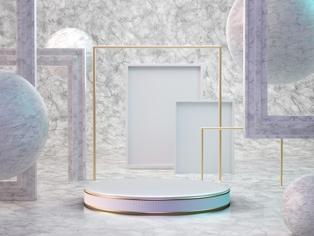 3d render of marble room with podium