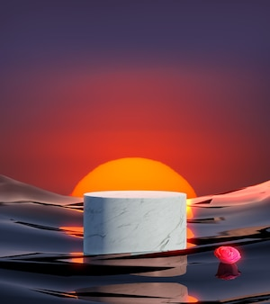 3d render marble with sunset background, abstract background, pedestal for brand products.