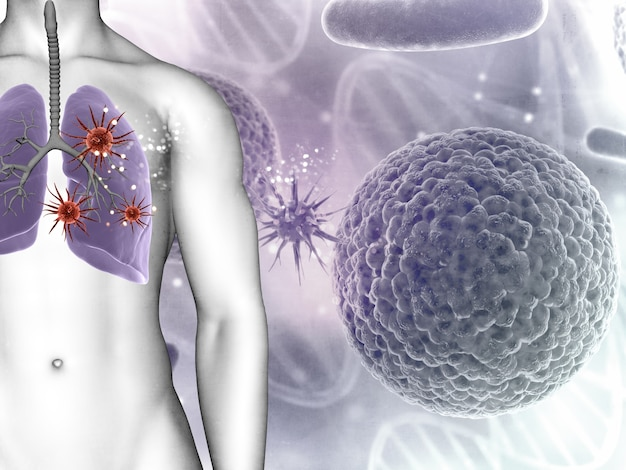 3d render of a medical background showing virus cells in male figures lungs