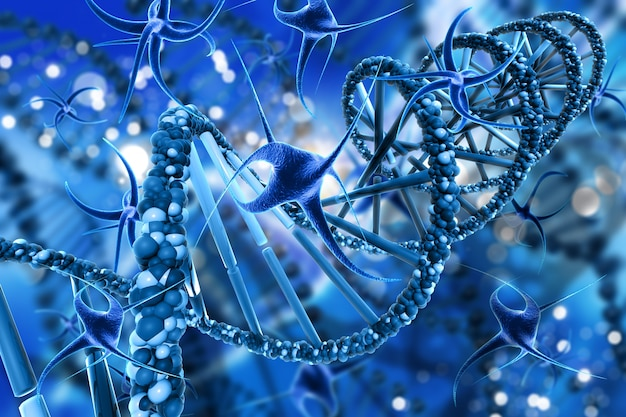 3d render of a medical background with abstract virus cells and dna strands