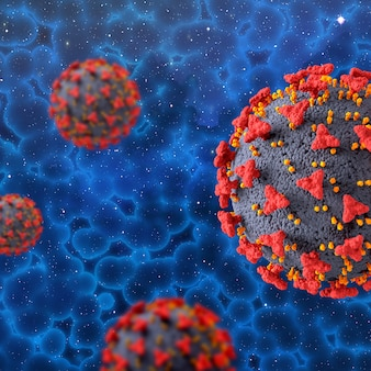 3d render of a medical background with covid 19 virus cells