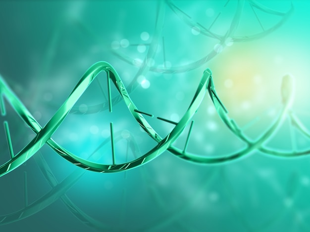 Rendering 3d di un background medico con filamento di dna