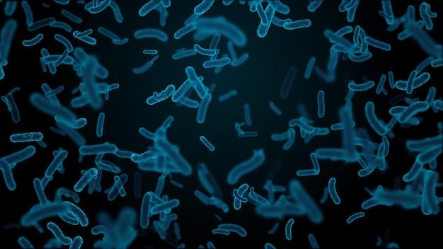 3d 렌더링 미생물과 의료 배경입니다. 추상 박테리아 또는 바이러스의 마이크로 세계.
