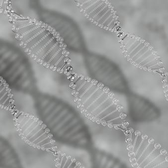 3d render of a medical background with transparent dna strands