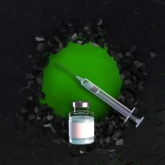 Rendering 3d di un background medico con vaccino e siringa su sfondo fratturato