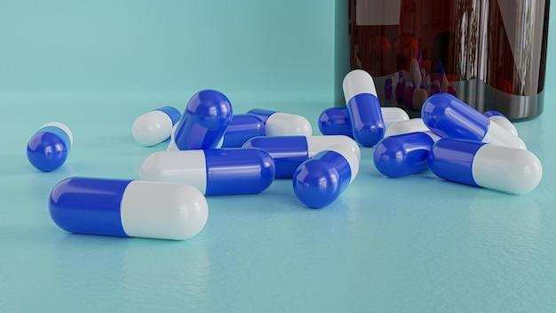 3d render. medicine pills capsules on blue wall.
