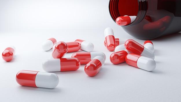 3dレンダリング。薬の丸薬カプセル