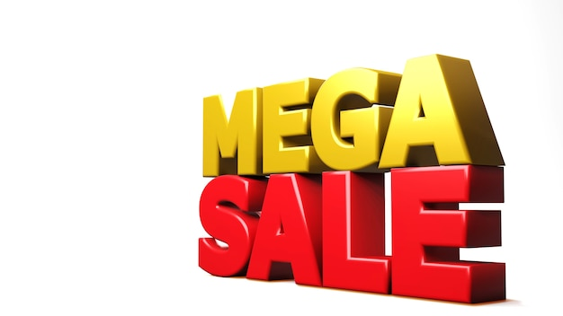 3d render mega sale isolated on white. 3d illustration