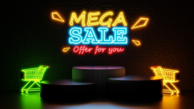 3d render of mega sale with podium for product display