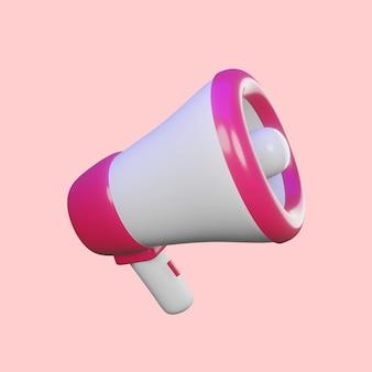 3d рендер мегафон для макета дизайна рекламы премиум
