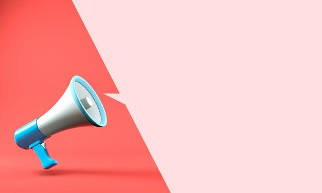 3d визуализация мегафон с фоном речи пузырь