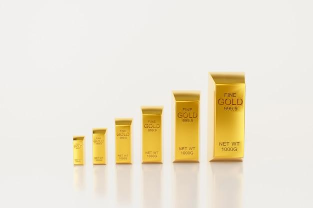 3d render of metal gold bar chart graph.