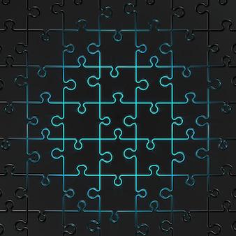 3d render metal jigsawwith blue light