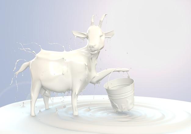 염소의 우유에서 3d 렌더링 우유 스플래시 흰색 배경에 고립
